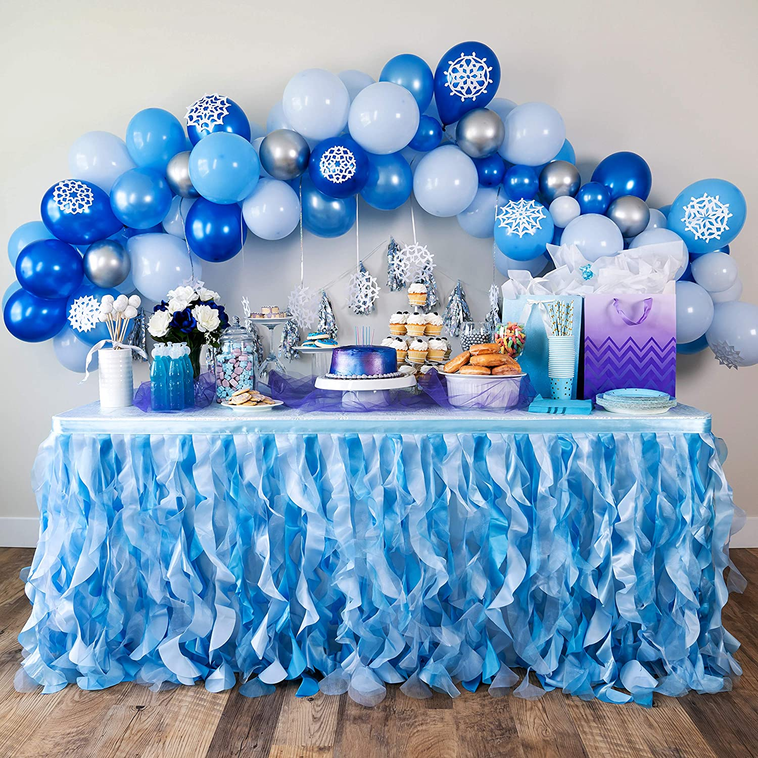 Bluekate Blue Over item handling Sacramento Mall Tutu Table Skirt 9ft with Wil Layer Double Organza