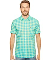 Lacoste - Short Sleeve Poplin Medium Check Regular Fit