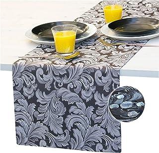 Akutana Black Table Runner 72 inch, White Jacquard Waterproof Dresser Scarf, Outdoor Coffee Table Runner, Luxury Dining Da...