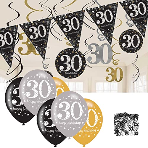30th Birthday Decorations Black And Gold Bunting Balloons Hanging