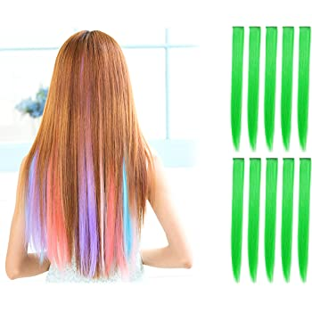 OneDor 23 Inch Colored Party Highlights Straight Hair Clip Extensions. Heat-Resistant Synthetic Hair Extensions in Multiple Colors (10 Pcs Green)