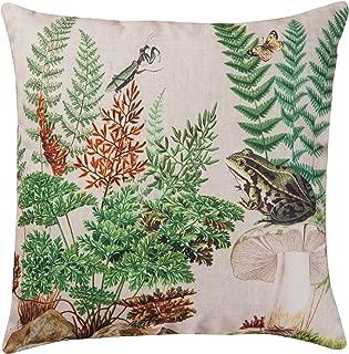 Home& Garden Fern & Frog Garden Botanical Indoor/Outdoor Pillow 18 x 18 Multi
