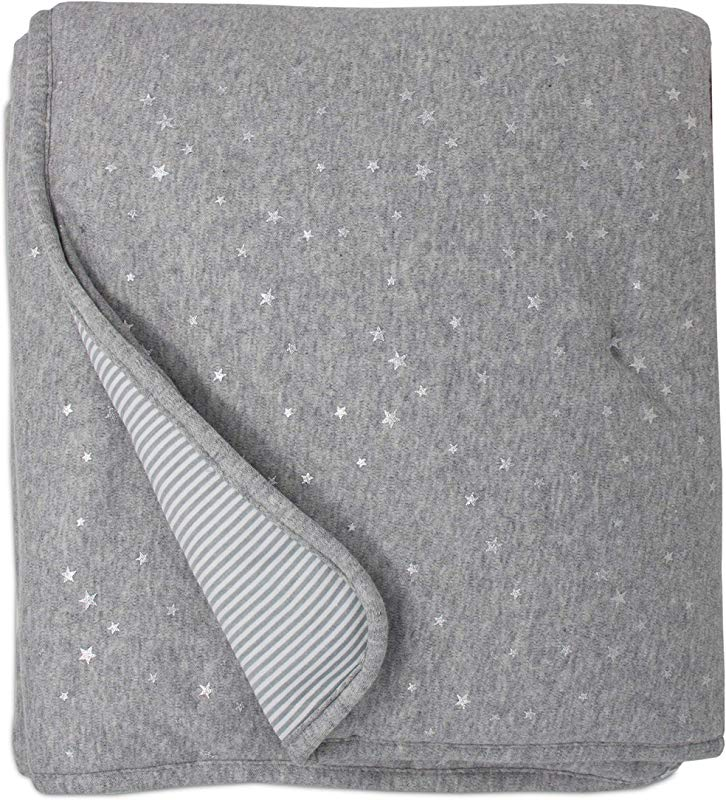 Living Textiles Quilted Comforter Metallic Stars Grey Heathered Stripes