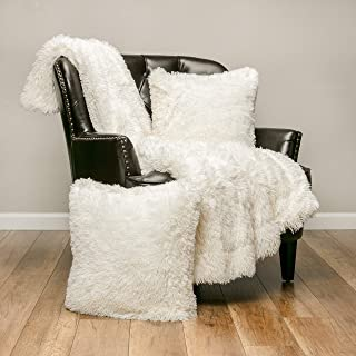 Chanasya 3-Piece Super Soft Shaggy Throw Blanket Pillow Cover Set - Chic Fuzzy Faux Fur Elegant Fleece Sherpa Throw (50x65) and Two Throw Pillow Covers (18x 18)- for Bed Couch Chair Sofa- Ivory White