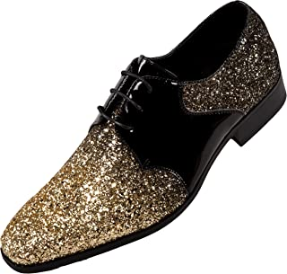 Amali Men's Two Tone Metallic Tuxedo Oxford Patent Trim Dress Shoe Style Gradey