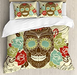 Ambesonne Sugar Skull Duvet Cover Set, Skull and Roses Colorful Vintage Composition with Smiling Gothic Face, Decorative 3 Piece Bedding Set with 2 Pillow Shams, King Size, Cream Khaki