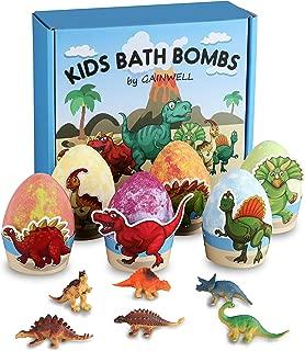 Organic Kids' Bath Bombs and Toys, 6 x 5oz XXL Natural Bath Bombs Dinosaur-Egg Shaped, Handmade Gift Set Safe Bath Fizz Balls