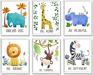 Safari Baby Animals Nursery Decor Unframed Wall Art - Set of 6 Inspirational Motivational Playroom Posters 8x10