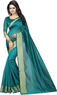TryMode Rensila Women's Cotton Silk Saree with Blouse Piece (Turquoise)