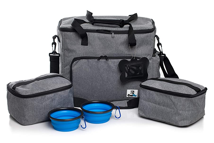 CoziPet Pet Travel Bag Tote for Dog or Cat with 2 Food Carriers and 2 Collapsible Bowls
