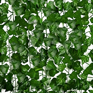OWERU Artificial Ivy Vine Green Leaves 12, Wisteria Vine Decoration Wall, Used for Garden, Party, Stage, Wedding, Backgrou...