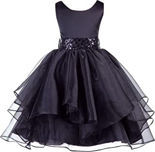Asymmetric Ruffled Organza Sequin Toddler Flower Girl Dress Pageant Gown 012S