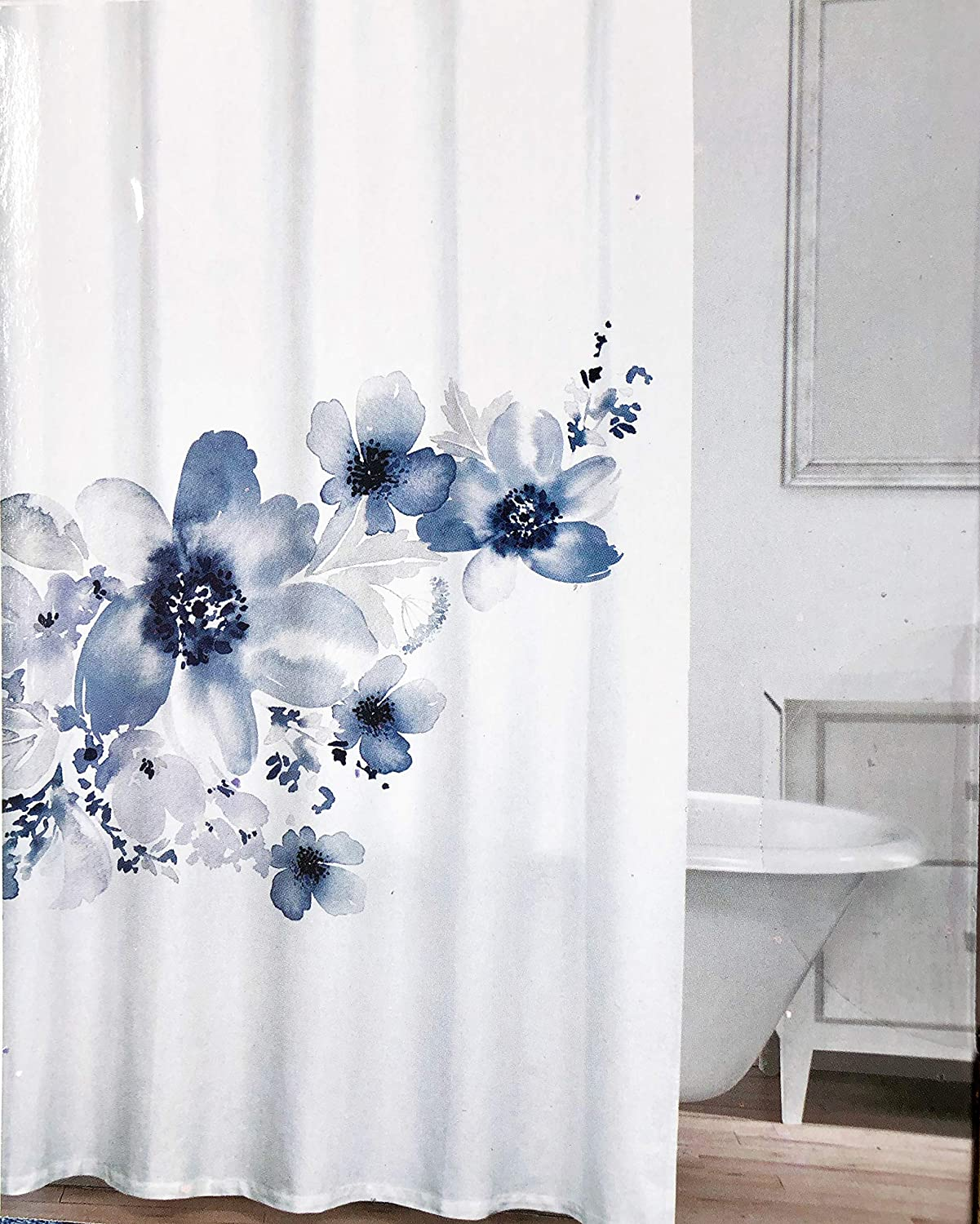 Caro Fabric Shower Curtain Floral Flowers Pattern Shades of Gray and Blue on White - Lola Gray Navy