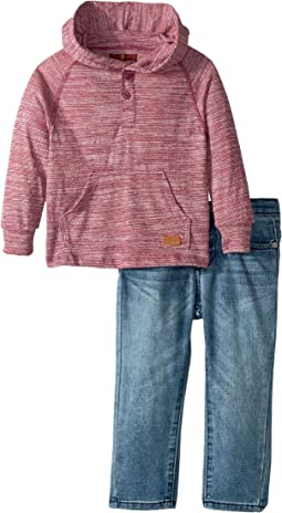 7 For All Mankind Kids - Two-Piece Hooded Henley and Jeans Set (Toddler)