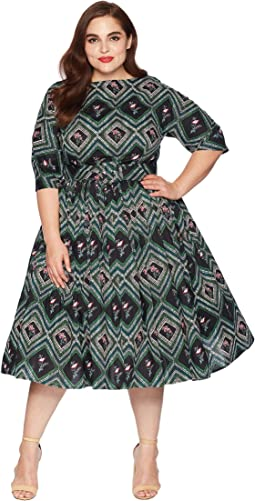 Plus Size 1940s Style Sleeved Sally Swing Dress