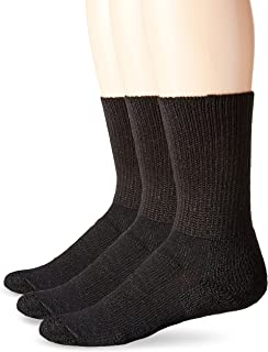 Unisex WX Walking Thick Padded Crew Sock, Black (3 Pack), Large