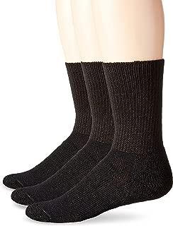 Unisex WX Walking Thick Padded Crew Sock, Black (3 Pack), XLarge