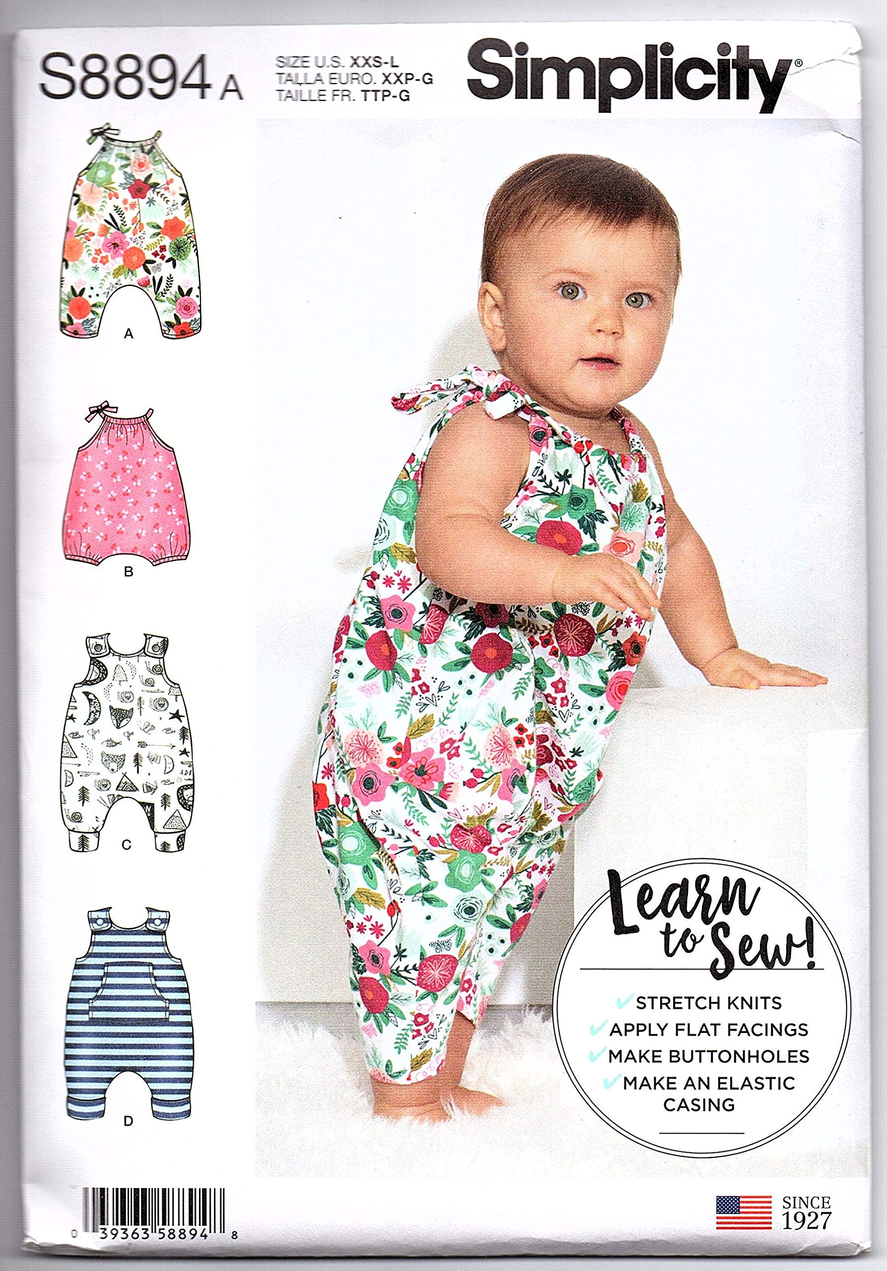 Butterick Sewing Pattern 3405 Babies Romper Top /& Shorts Play Wear