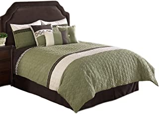 Hallmart Collectibles Frontera Quilted Comforter Set, Queen, 7 Piece