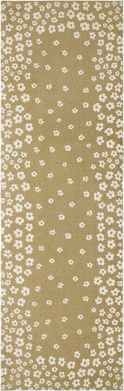 Superior 100% Cotton Printed Wildflower Runner Rug, 2' 6  x 8', Beige