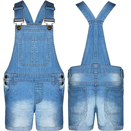 40528ec929a Lyallpur Girls Dungaree 100% Cotton Kids Jeans Denim Shorts Dress Jumpsuits  7-13 Years