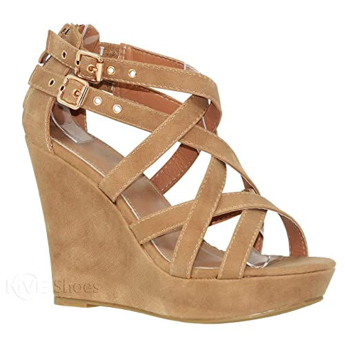 d55cbeec5c6f MVE Shoes Women s Platform Cut Out Buckle Open Toe Wedges