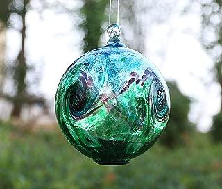Artisan Crafts and Design 4.6-Inch Solar Hanging Glass Gazing Ball Outdoor Garden Décor Aqua-Green Swirl