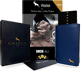 OMARCO® Wallet (with BONUS 2 in 1 E-Book) | RFID Blocking | Pop up Wallet | OPAL Cardholder (Tap and Go) | Fast OPAL Card / Transport Card / Security Card Access | Premium Top Grain Luxury Genuine Leather | Slim Wallet | Aluminium Business Card Holder | Fast Card Access (Navy & Gold)