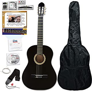 eMedia Essential Guitar Pack with eMedia Guitar Method Lessons, Full-size Classical Guitar, Gig Bag, Strap, Strings, and Pick (EG04161)