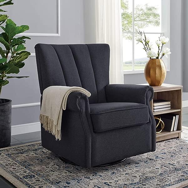 Classic Brands David John Popstitch Upholstered Glider Swivel Rocker Chair Charcoal