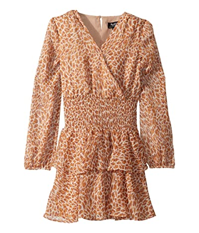 Bardot Junior Rara Shirred Dress (Big Kids) (Tan Leopard) Girl