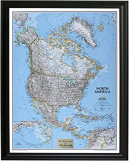 Push Pin Travel Maps Personalized Classic North America with Black Frame and Pins