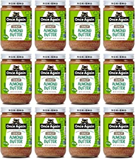 Once Again Organic Crunchy Almond Butter, 16oz - Lightly Toasted - Salt Free, Unsweetened - USDA Organic, Gluten Free Cert...