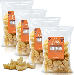 Keto Friendly Pork Rinds (4 Pack)Proudly Pure Diet Snack Gluten Free Zero Carb Food Protein Packed Gourmet Double-Cooked Fried Rind Crunchy Chicharrones {Cooked with Pork Fat}