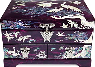 Hand Made Jewelry Box Ring Organizer Mother of Pearl Sea Shell Inlaid 2 Level 2 Drawers Mirror Lid Cranes Design Purple