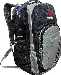 حقيبة ظهر للجنسين مزخرفة (رمادي مع أسود)