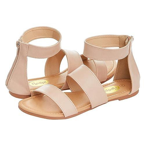c12f1aa39 Floopi Womens Summer Slide Ankle Strap Flat Sandal W/Zipper