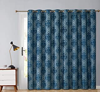HLC.ME Damask Flocked 100% Complete Blackout Thermal Insulated Window Curtain Grommet Panel for Sliding Glass Patio Door - Energy Savings & Soundproof (100 x 84 inches Long, Teal Blue)