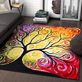 Fairytale Multi Yellow Orange Red Nature Modern Abstract Painting Brush Stroke Area Rug 8x10 ( 7'10