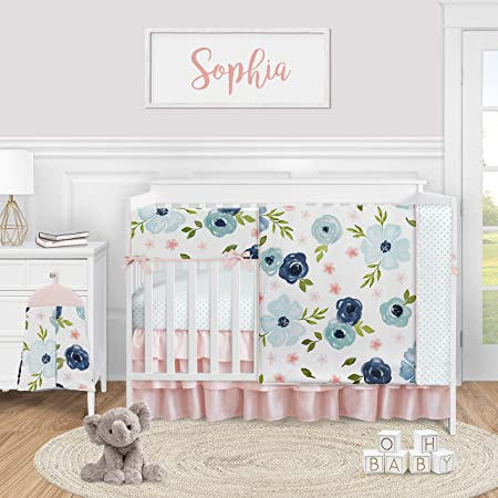 Sweet Jojo Designs Blue and White Polka Dot Girl Pleated Baby Nursery Crib Bed Skirt Dust Ruffle Watercolor Floral Shabby Chic Collection