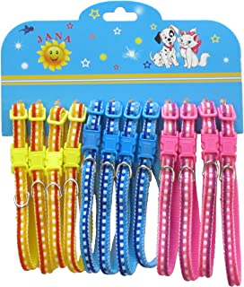 YML Checkered Colored Pattern Pet Collar, Assorted Colors