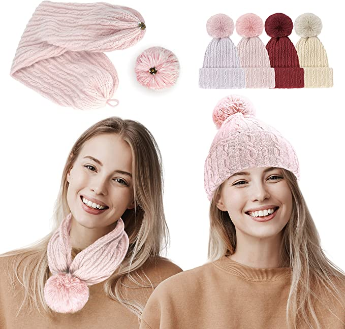 DERUI CREATION Pom Beanie,Women Slouchy Knitted Woolen Scarf Gift for Grils 1PC