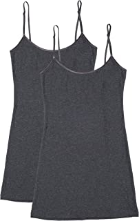 Bozzolo 2 or 4 Pack Women's Junior and Plus Adjustable Spaghetti Strap Long Tank Top