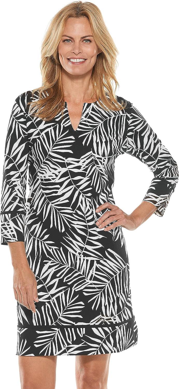 Coolibar UPF 50+ Women's Oceanside Tunic Dress  Sun Predective (2X Black Modern Palm)