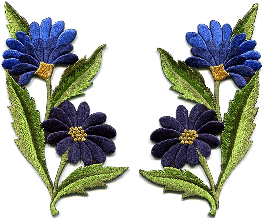 Blue daisies pair flowers floral bouquet boho embroidered appliques iron-on patches new