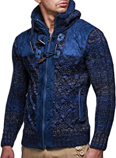 Leif Nelson LN20525 Men's Knit Zip-up Jacket With Geometric Patterns and Leather Accents