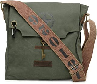 The House of Tara - Moss Green 100% Cotton Canvas Messenger Cross Body Bag with Stylish Design and Distress Finish for Men and Women