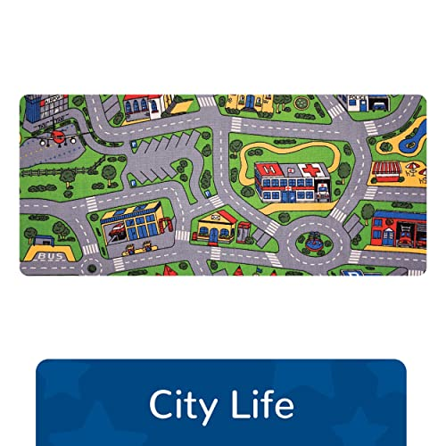 """Learning Carpets City Life Play Carpet, 79""""x36"""" Rect. Kids Playroom Road Rug, Classroom Furniture, Toddler Playmat Rug for Daycare/Homeschool"""