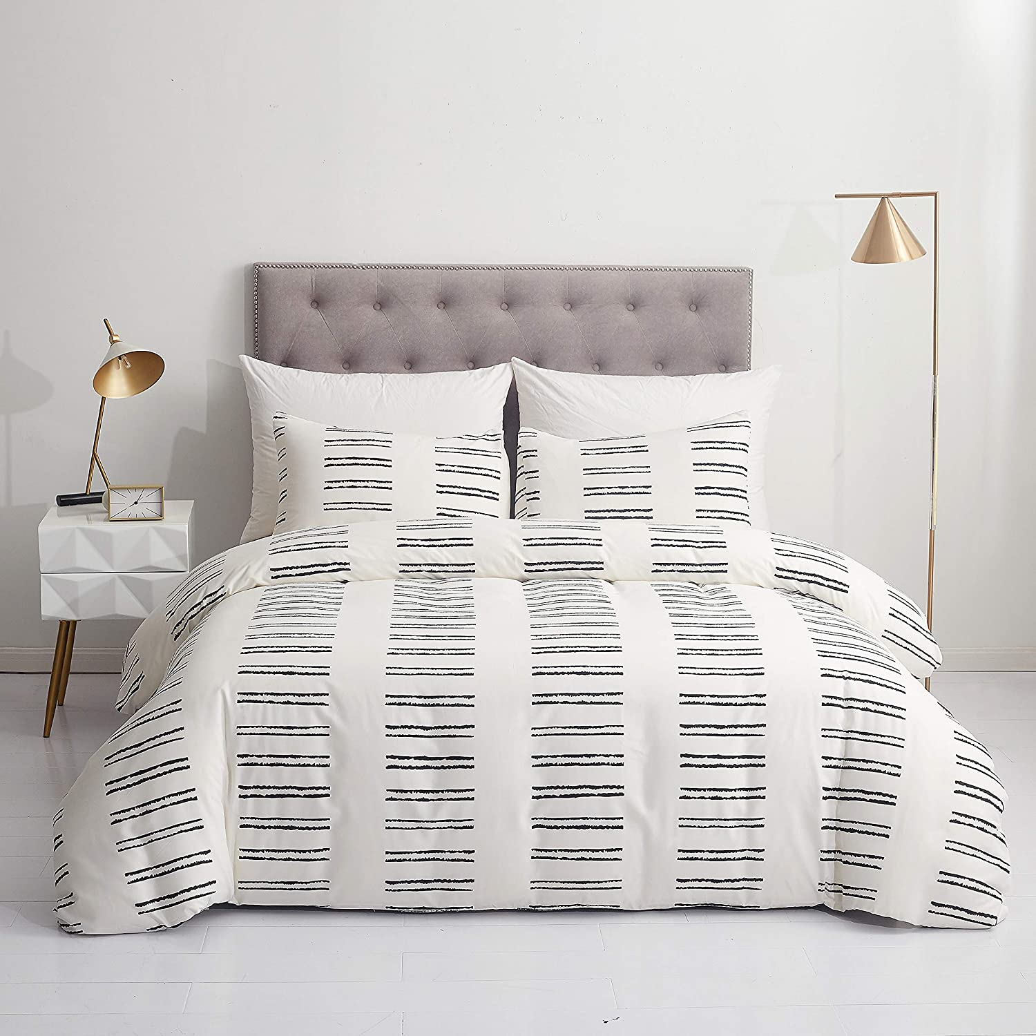 """GETIANN Soft Bedding Duvet Cover Set Queen White Striped Comforter Cover Set Full 90""""x90""""(1 Comforter Cover and 2 Pillow Shams) Hotel Quality (Road, Full/Queen) : Home & Kitchen"""