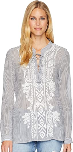 Artisan Lace-Up Stripe Long Sleeve Blouse with White Embroidery